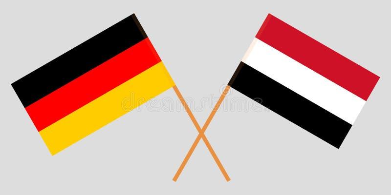Yemen en Duitsland De Yemeni en Duitse vlaggen Officiële kleuren Correct aandeel Vector vector illustratie