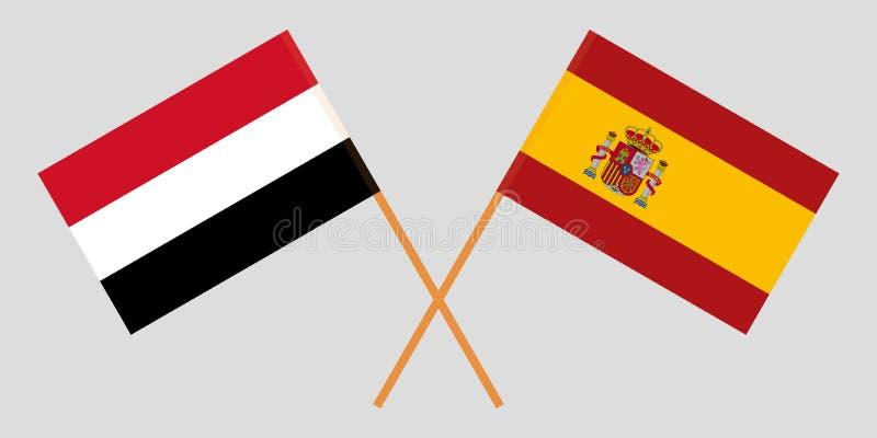Yemen en Spanje De Yemeni en Spaanse vlaggen Officiële kleuren Correct aandeel Vector stock illustratie