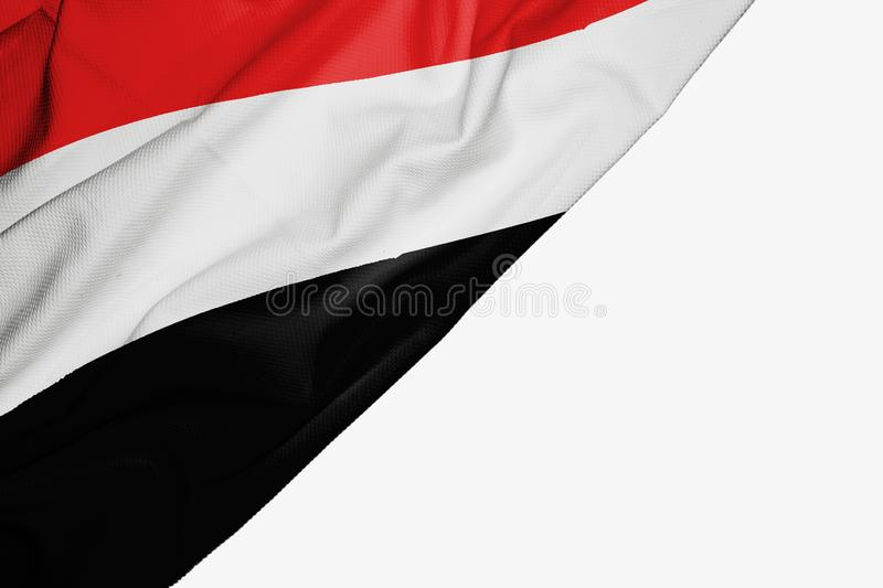 Yemen flag of fabric with copyspace for your text on white background. Arab asia asian banner best black capital colorful competition country ensign free royalty free illustration