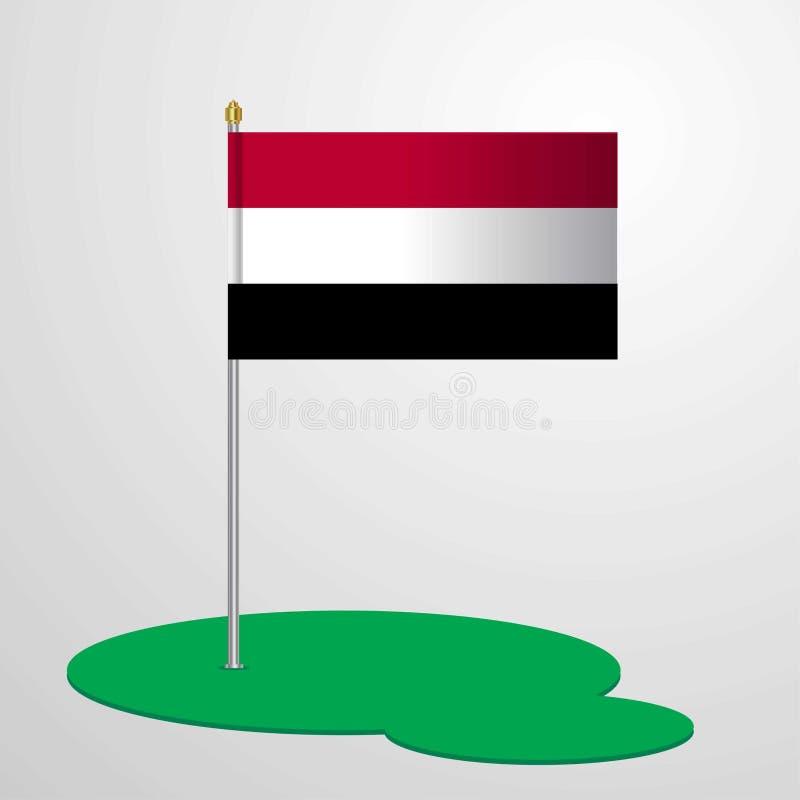 Yemen Flag Pole royalty free illustration