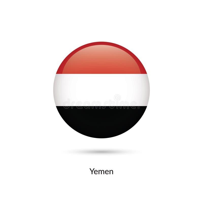 Yemen flagga - rund glansig knapp royaltyfri illustrationer