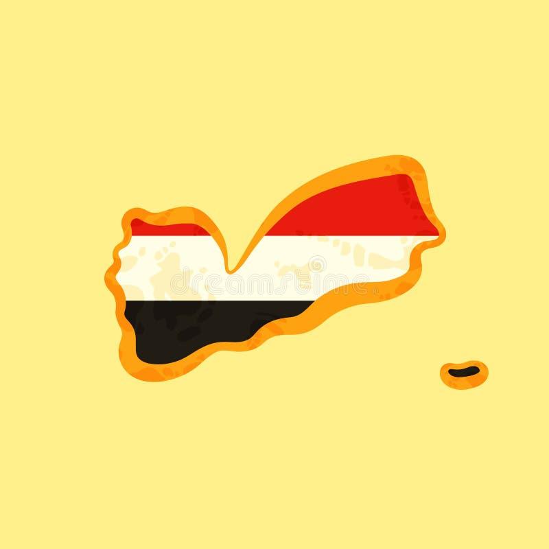 Yemen - mapa coloreado con la bandera yemení ilustración del vector