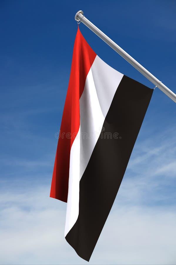 Yemen-Markierungsfahne und ein blauer Himmel stock abbildung
