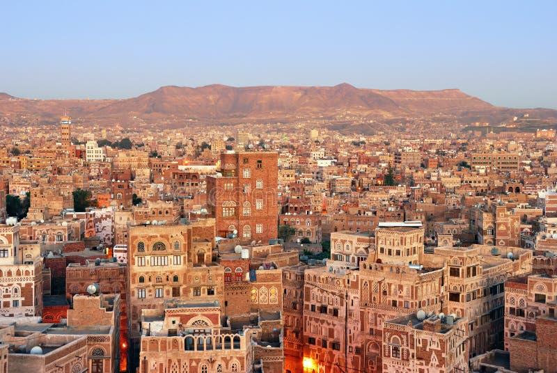 yemen Nascer do sol em Sanaa fotografia de stock