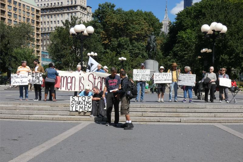 Yemen Protest. A protest in Union Square, New York City, against the US policy in Yemen. Yemen is one of the six countries affected by the travel ban established stock photography