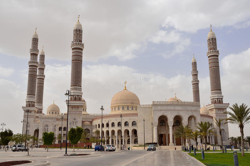 Yemen, Sana'a: Al-Saleh Mosque. At cloudy day royalty free stock image