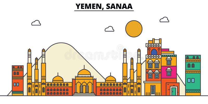 Yemen, Sanaa De architectuur van de stadshorizon editable royalty-vrije illustratie