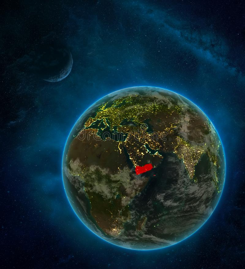 Yemen from space on Earth at night surrounded by space with Moon and Milky Way. Detailed planet with city lights and clouds. 3D. Illustration. Elements of this vector illustration
