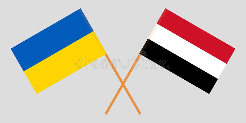 Yemen and Ukraine. The Yemeni and Ukrainian flags. Official colors. Correct proportion. Vector. Illustration stock illustration