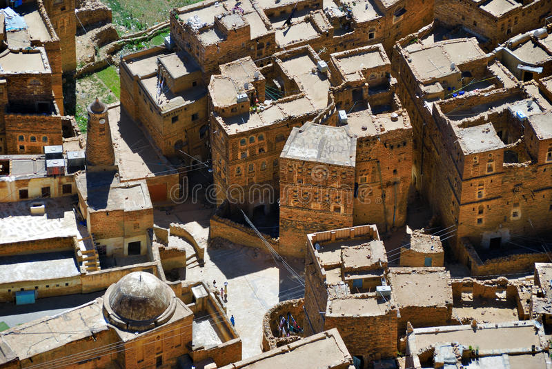 Yemen. View from above on the traditional houses in the medieval village of Thula, Yemen stock images