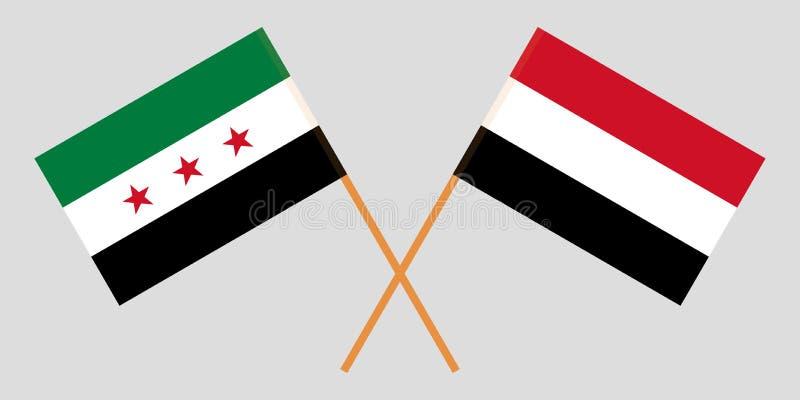 Yemen y gobierno provisional de Siria Las banderas yemeníes y de la coalición Colores oficiales Proporción correcta Vector stock de ilustración