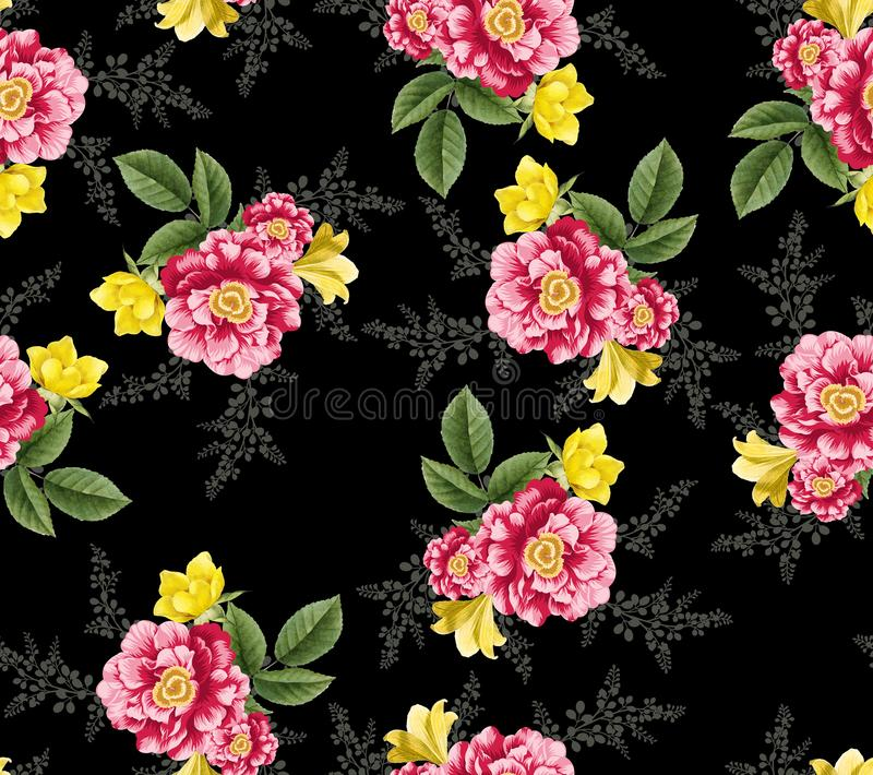 Seamless tropical flower with leaves flowers pattern. Seamless tropical flower with leaves small flowers pattern background design royalty free illustration