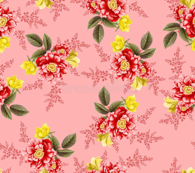 Seamless tropical flower with leaves flowers pattern. Seamless tropical flower with leaves small flowers pattern background design vector illustration
