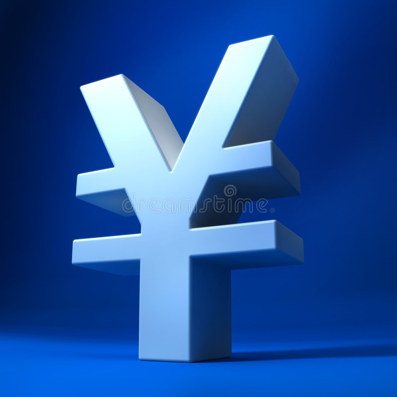Yen. 3d yen sign sitting on blue background stock illustration