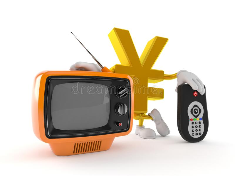 Yen character with tv set and remote. Isolated on white background. 3d illustration stock illustration
