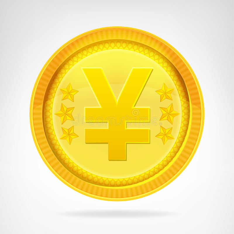 Yen coin golden currency object isolated stock illustration