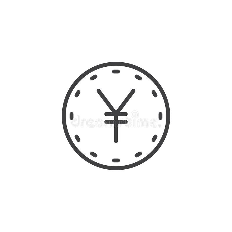 Yen coin line icon. Linear style sign for mobile concept and web design. yen currency outline vector icon. Money exchange symbol, logo illustration. Pixel royalty free illustration