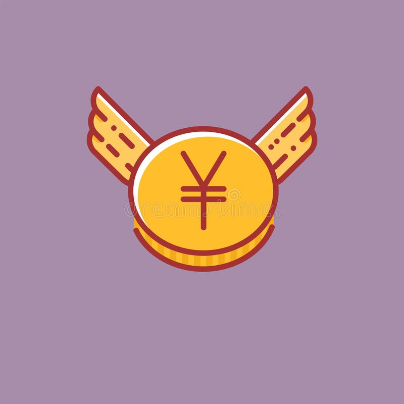 Yen coin with wings icon, flat line design style sign vector illustration