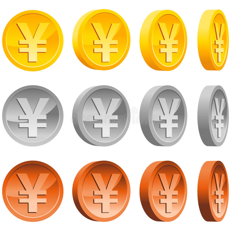 Download Yen Coins stock vector. Image of shiny, icon, earning - 22724719