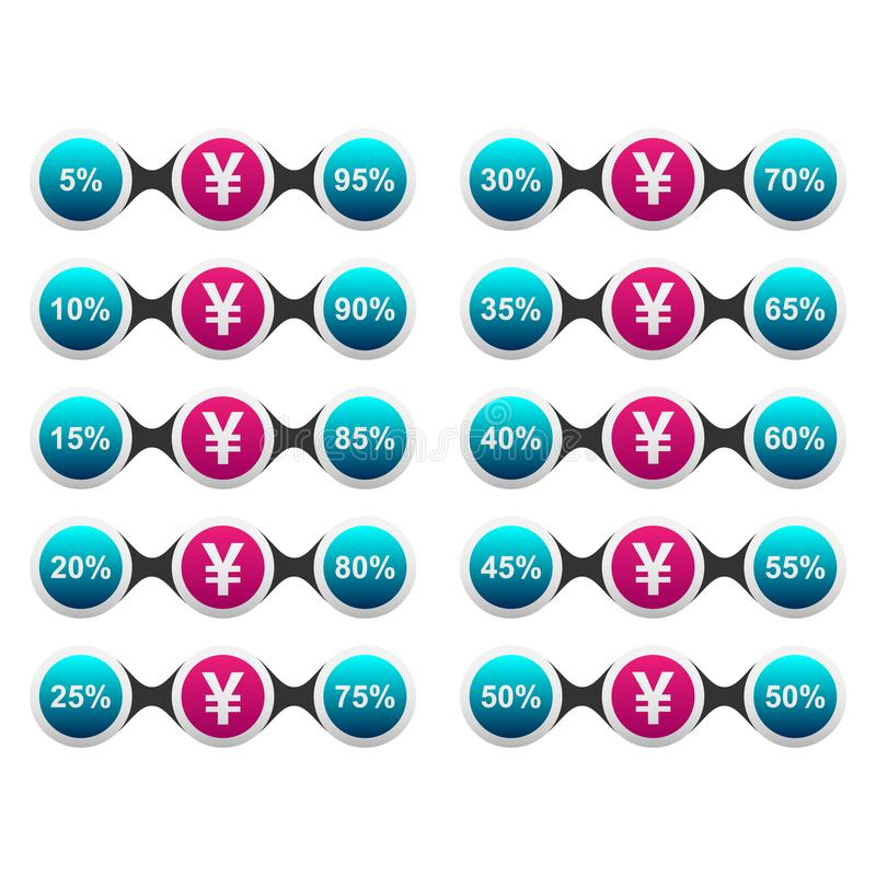 Yen Currency Percentage stock de ilustración