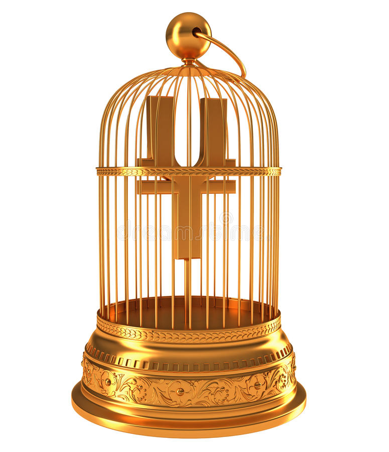 Yen Currency Symbol In Golden Birdcage Stock Photography