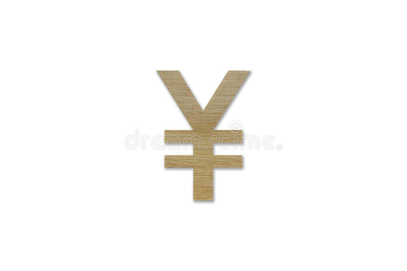 Yen currency symbol made from wood isolated on white background stock photos