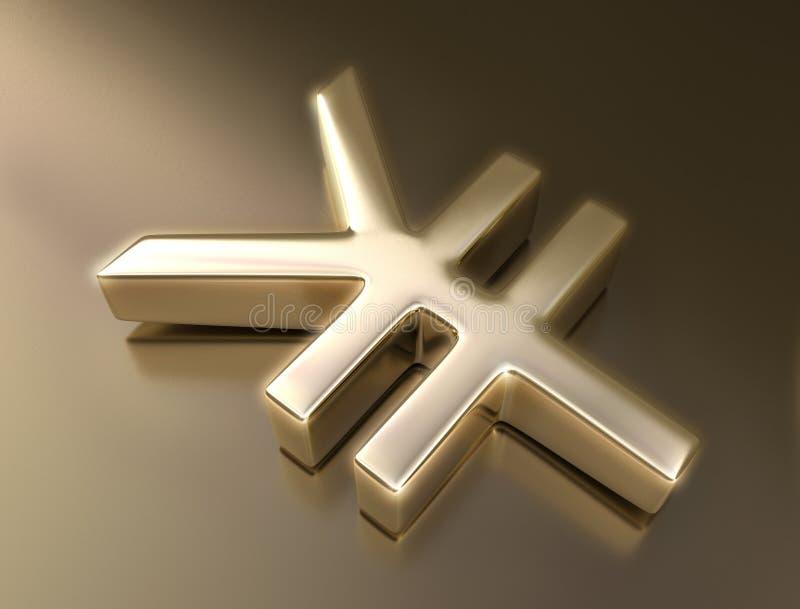 Yen dorati del segno immagine stock libera da diritti