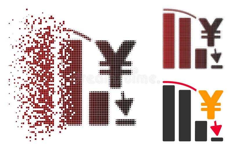 Yen Epic Fail Chart Icon tramé pointillé dispersé illustration de vecteur