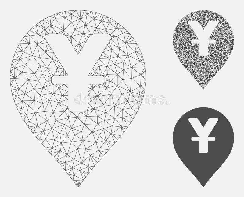 Yen Map Marker Vector Mesh Network Model and Triangle Mosaic Icon. Mesh yen map marker model with triangle mosaic icon. Wire frame triangular mesh of yen map royalty free illustration