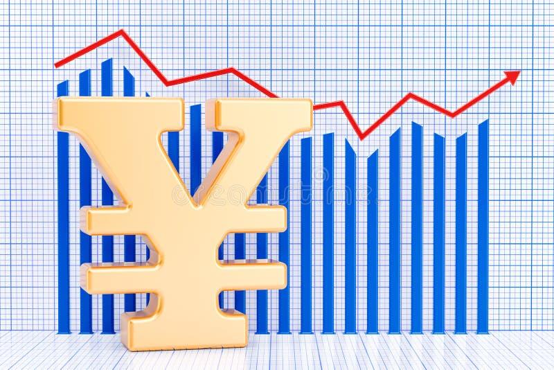 Yen- oder Yuansymbol mit wachsendem Diagramm Wiedergabe 3d stock abbildung