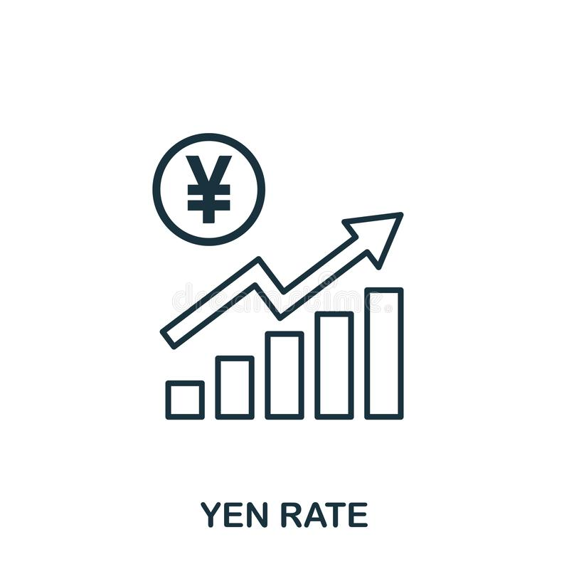 Yen Rate Increase Graphic icon. Mobile apps, printing and more usage. Simple element sing. Monochrome Yen Rate Increase. Graphic icon illustration royalty free illustration