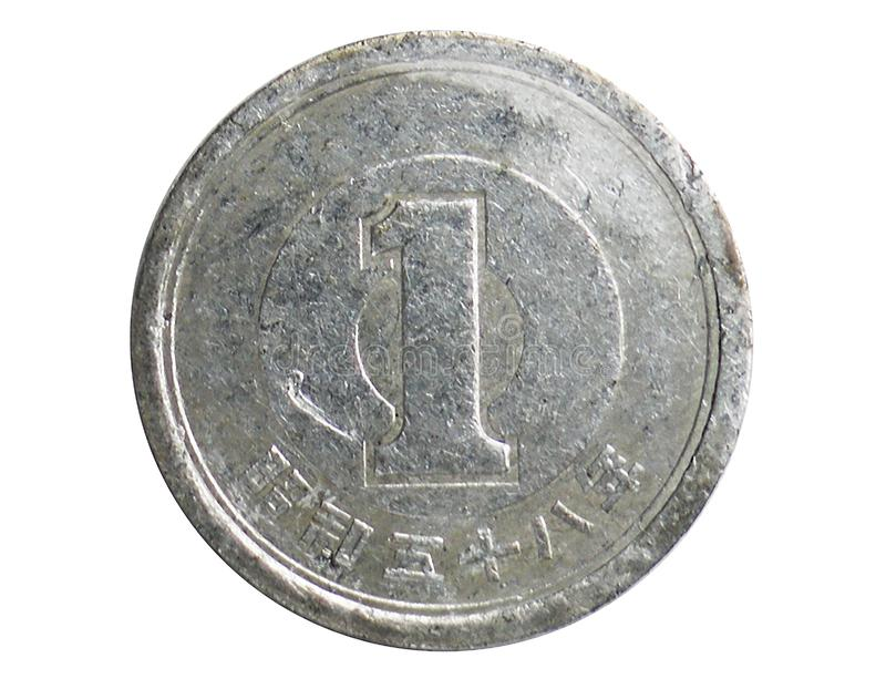 1 Yen Showa coin, 1948~Today - Circulating Coins serie, Bank of Japan. Obverse, issued on 1955. Isolated on white royalty free stock images