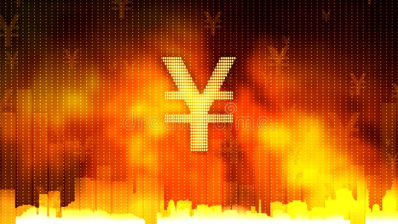 Yen sign against fiery background, gold and currency reserves, financial market vector illustration