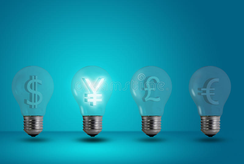 Yen symbol glow among other light bulb royalty free stock photos