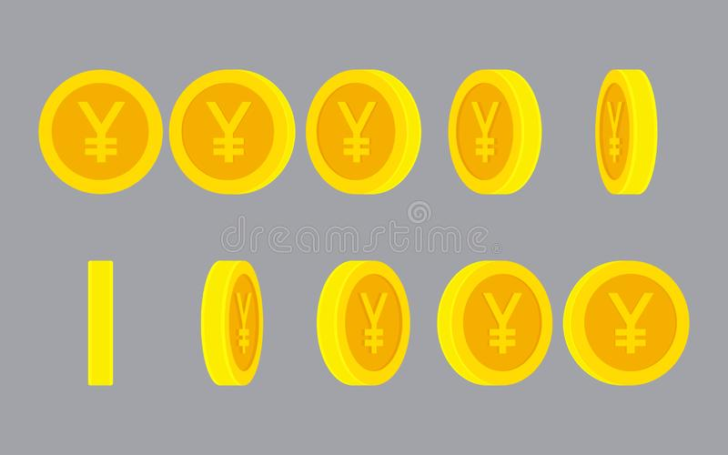 Yen or Yuan coin rotating animation sprite sheet. Yen or Yuan coin rotating. Vector sprite sheet isolated on plain background. Can be used for GIF animation stock illustration
