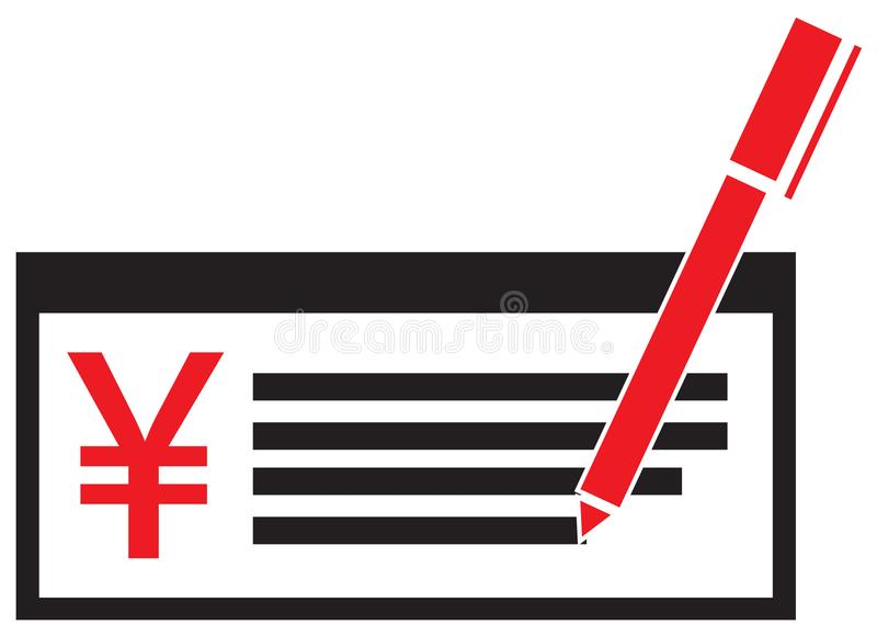 Yen Yuan Or Renminbi Currency Icon Or Logo On A Pay Check Or Cheque