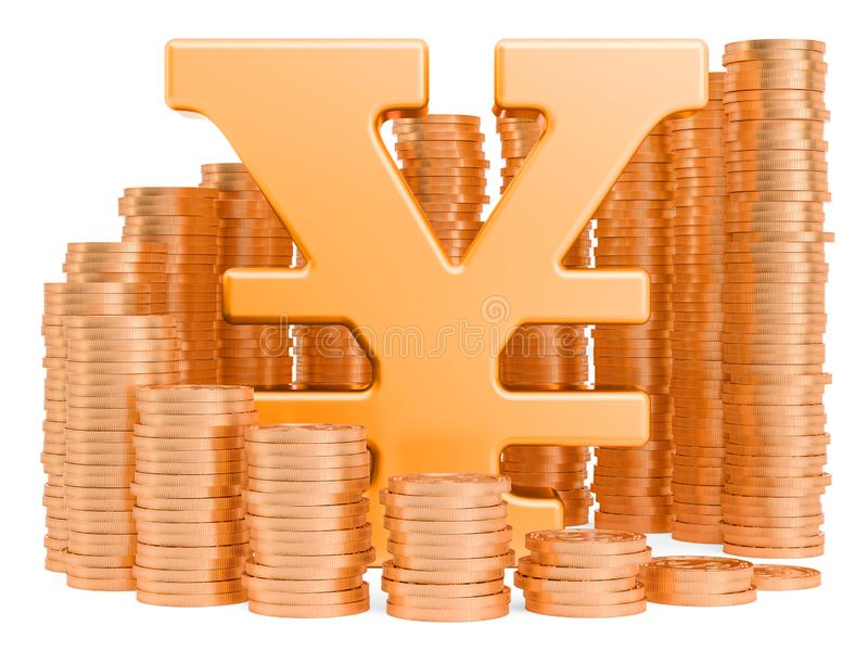 Yen or yuan symbol with golden coins around, 3D rendering. Isolated on white background royalty free illustration