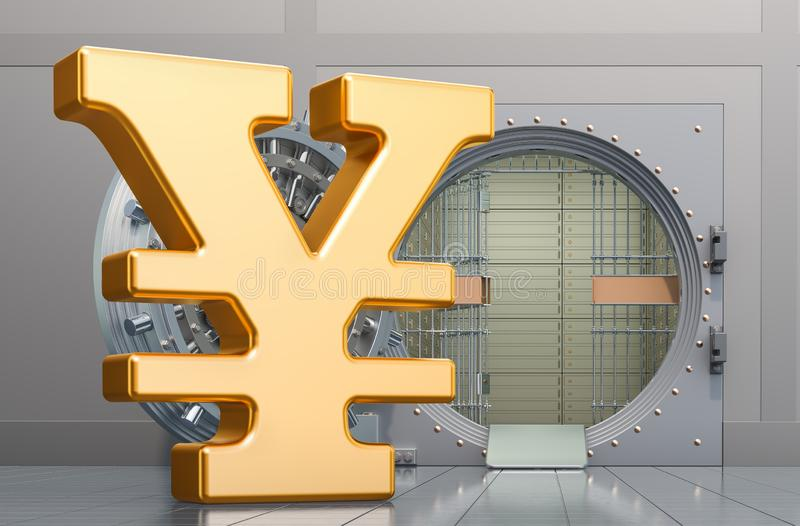 Yen or yuan symbol sign with opened bank vault, 3D rendering. Yen or yuan symbol sign with opened bank vault, 3D royalty free illustration