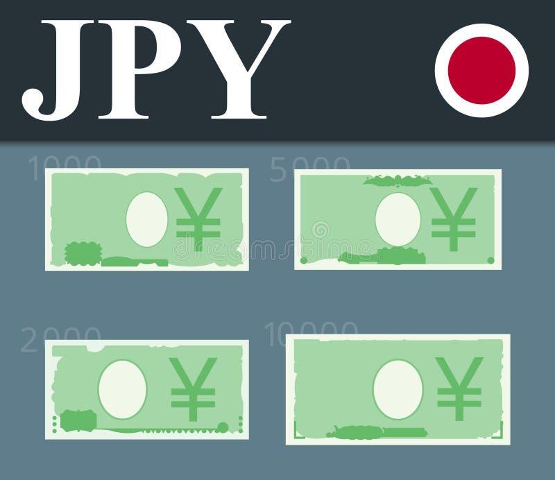 Yenbankbiljetten Vlakke ontwerpillustratie royalty-vrije stock afbeeldingen