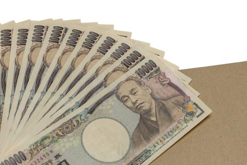 Yenes de Billie, dinero en el recorte blanco del fondo, visión superior, concepto de financiero imagen de archivo