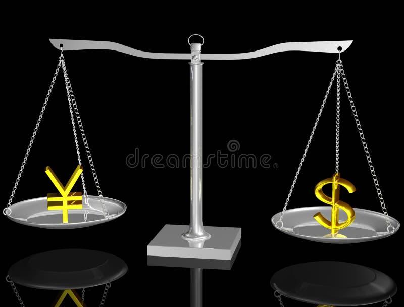 Yenes y dólar en balance libre illustration