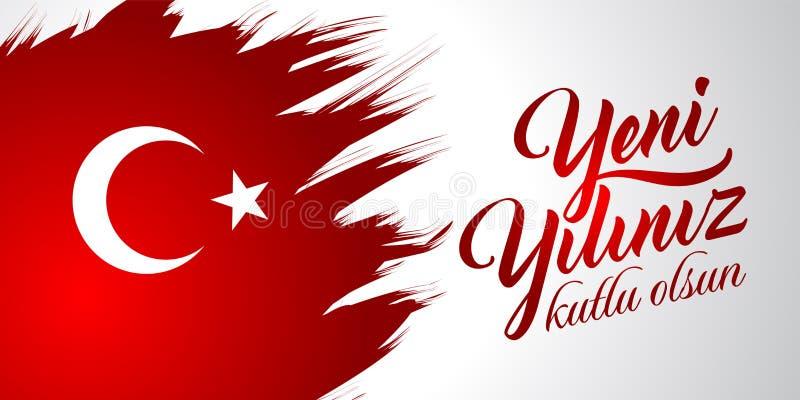 Yeni YilizYichlu olsun Traduzione dal turco: Buon anno nuovo fotografia stock libera da diritti