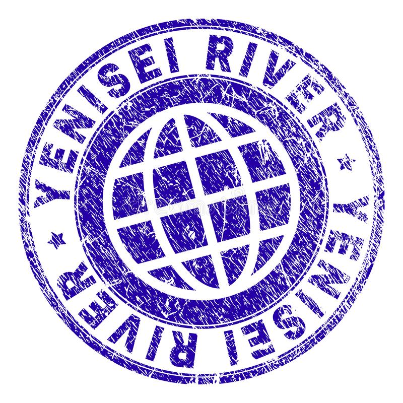 Grunge Textured YENISEI RIVER Stamp Seal. YENISEI RIVER stamp imprint with grunge texture. Blue vector rubber seal imprint of YENISEI RIVER caption with stock illustration