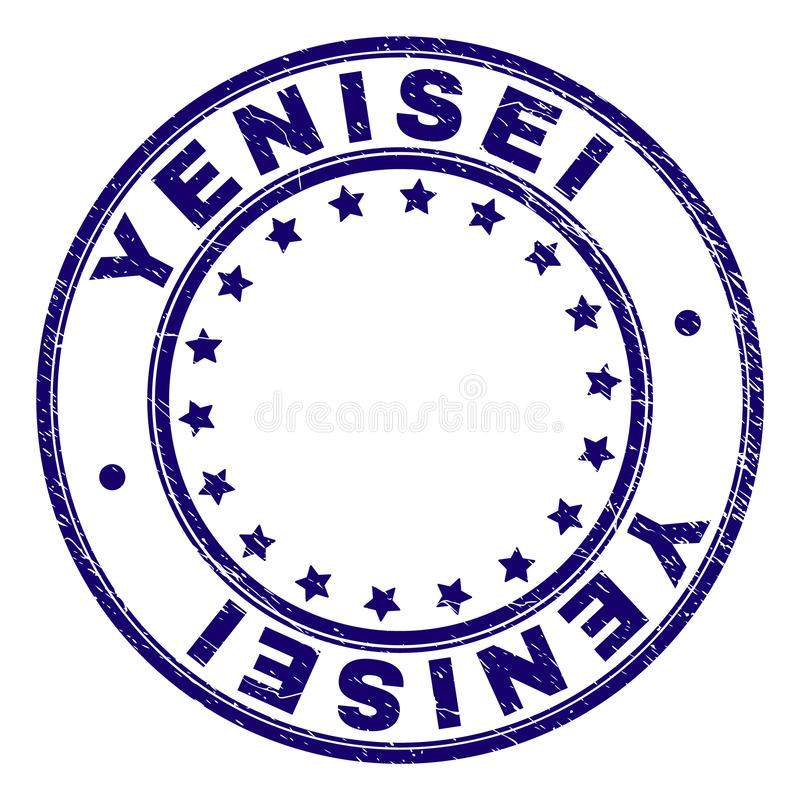 Scratched Textured YENISEI Round Stamp Seal. YENISEI stamp seal watermark with grunge texture. Designed with round shapes and stars. Blue vector rubber print of royalty free illustration