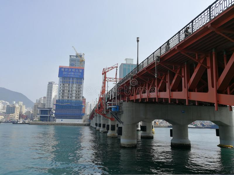 Yeongdodaegyo Bridge. Connecting Jung-gu and Yeongdo-gu districts in Busan, was the first mainland-island connecting bridge in Busan. The bridge lifts to allow stock photos