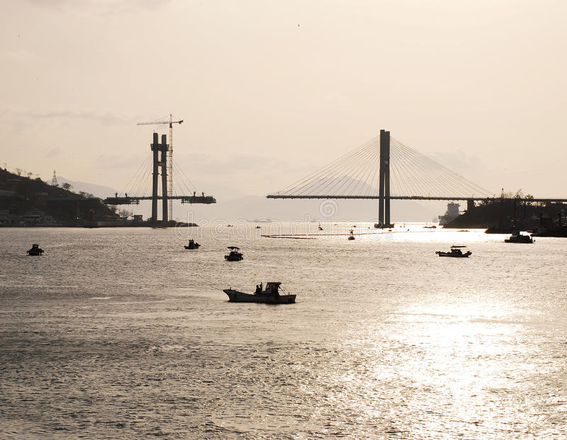 Yeosu Harbor, South Korea, Bridge building site. stock image