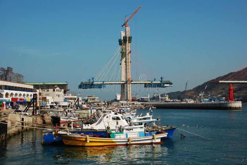 Yeosu harbor, South Korea, bridge construction stock photography