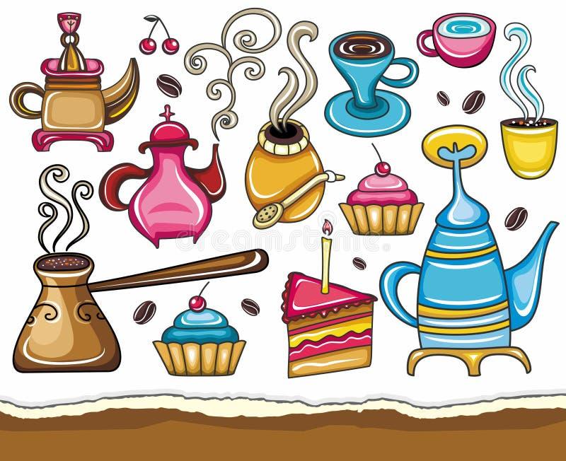yerba чая ответной части кофе установленное бесплатная иллюстрация