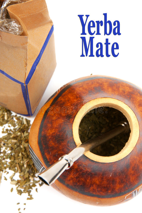 Yerba mate. Drinking set - calabash and bombilla stock images