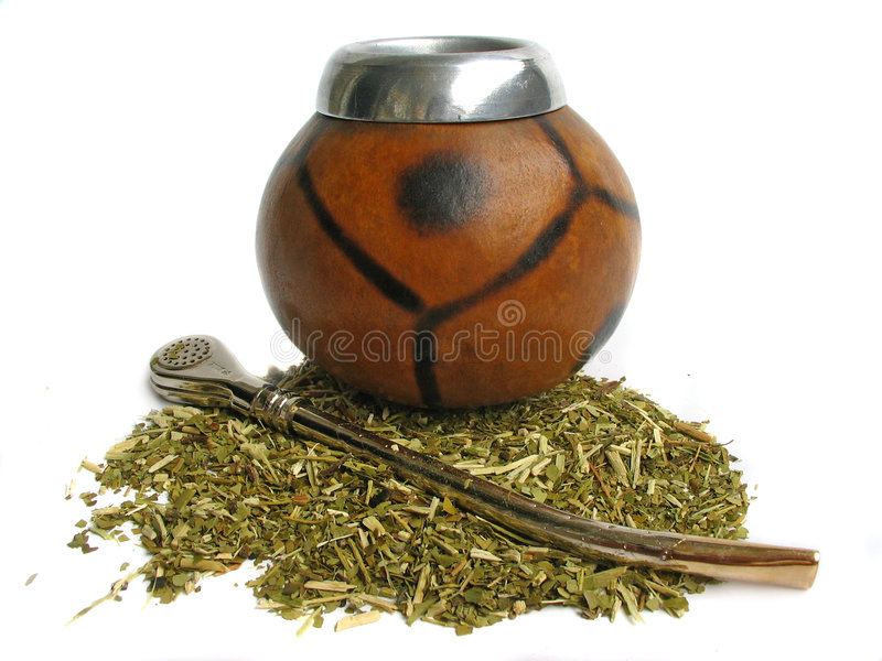 Yerba mate cup and straw stock images